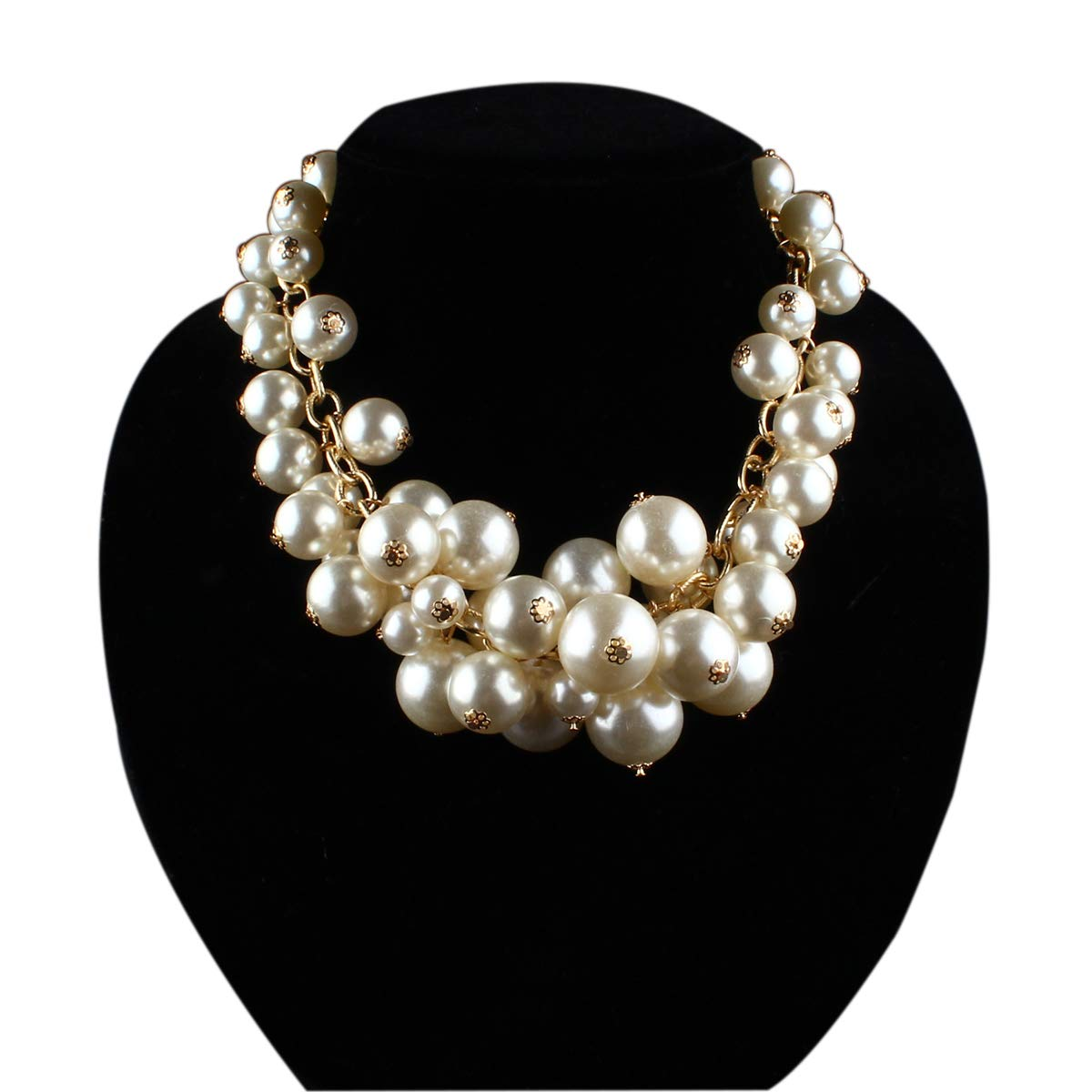 Utop Simulated Pearl Choker Necklace for Women Bridal Wedding Pearl Statement Necklace LeeLoo