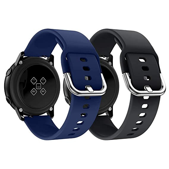 NotoCity Compatible Samsung Galaxy Watch Active Band/Galaxy Watch 42mm/Gear Sport Band, 20mm Soft Waterproof Silicone Sport Watch Strap Replacement ...