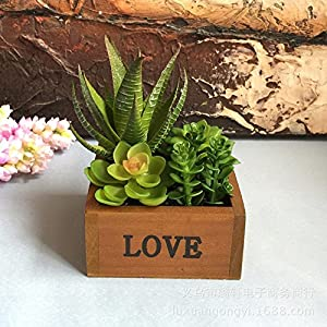SituMi Artificial Flowers Many Potted Meat Loveemulation Plants Wooden Flowerpots,Aloe Vera 60