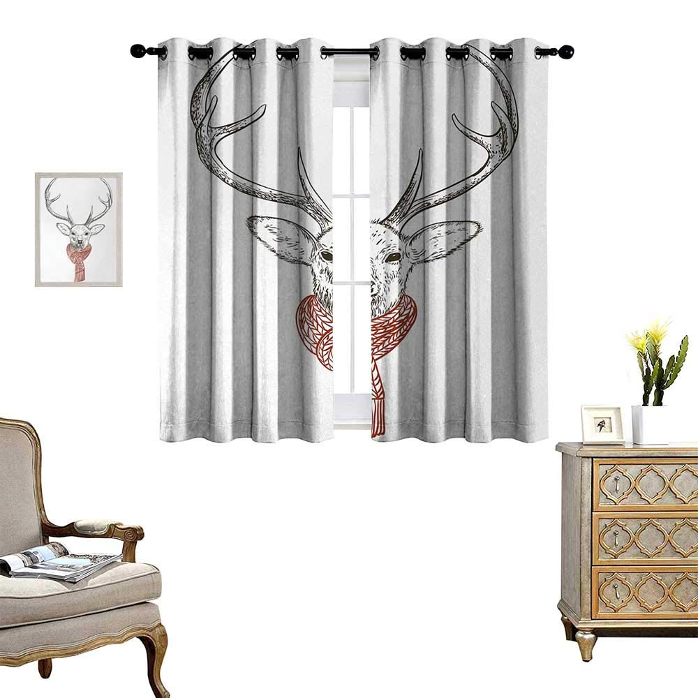 Anyangeight Antlers Waterproof Window Curtain Illustration of a Deer Wearing Scarf Knitted Neck Wintertime Cold December Blackout Draperies for Bedroom W55 x L39 Redwood Grey White