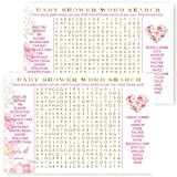 Floral Baby Shower Word Search Game Card Set of 25 - Elegant and Classy