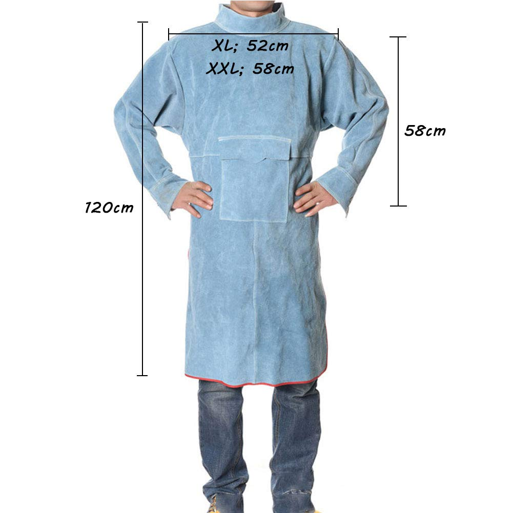 LAIABOR Welders Apron Heavy Duty Tools Shop Work Apron Leather, Flame Resistant Welding Jacket with Cowhide Leather and Adjustable Size Protective Foot,Blue,XXL by LAIABOR (Image #1)