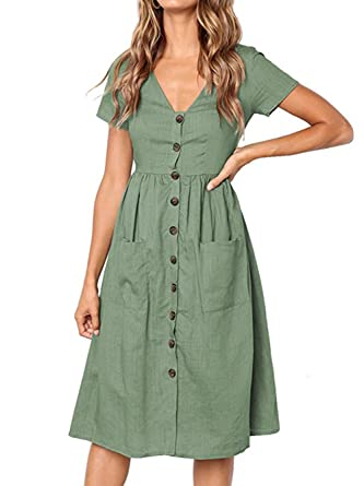 179ac3be1f8 Image Unavailable. Image not available for. Color: Voopptaw Women's Short  Sleeve V Neck Button Down Summer Midi Swing Dress with Pockets ...