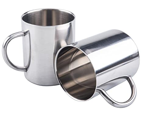 COM-FOUR/® 2x Tazza da caff/è in acciaio inox Tazza termo-bevente in acciaio inossidabile di alta qualit/à Senza BPA Coppe isolanti a doppia parete 200 ml Caffettiera infrangibile