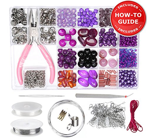 Jewelry Making Kit - Beading Starter Kits for Adults, Teens, Girls. Includes All Needed Jewellery Making Supplies, Beads and Instructions for Beginners | Purple - Jewelry Beading Projects