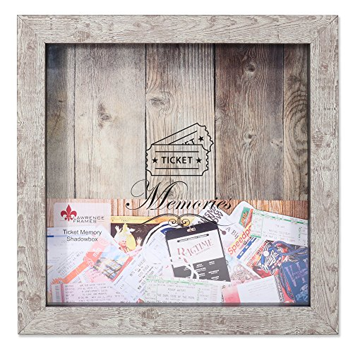 Lawrence Frames 10x10 Weathered Birch Shadow Box Ticket Holder, Brown