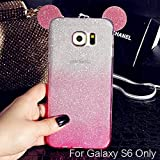 KC Cute Ears Gradient Glitter 2 in 1 Case Transparent Soft Samsung Galaxy S6 Back Cover for Girls - Pink Colour