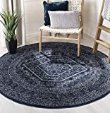 Safavieh Adirondack Collection ADR108N Contemporary Oriental Medallion Area Rug, 8' Round, Navy/Ivory