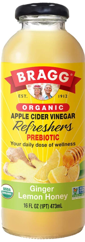 Bragg Organic Apple Cider Vinegar Beverage, Ginger Lemon Honey, 16 oz (Pack of 12)