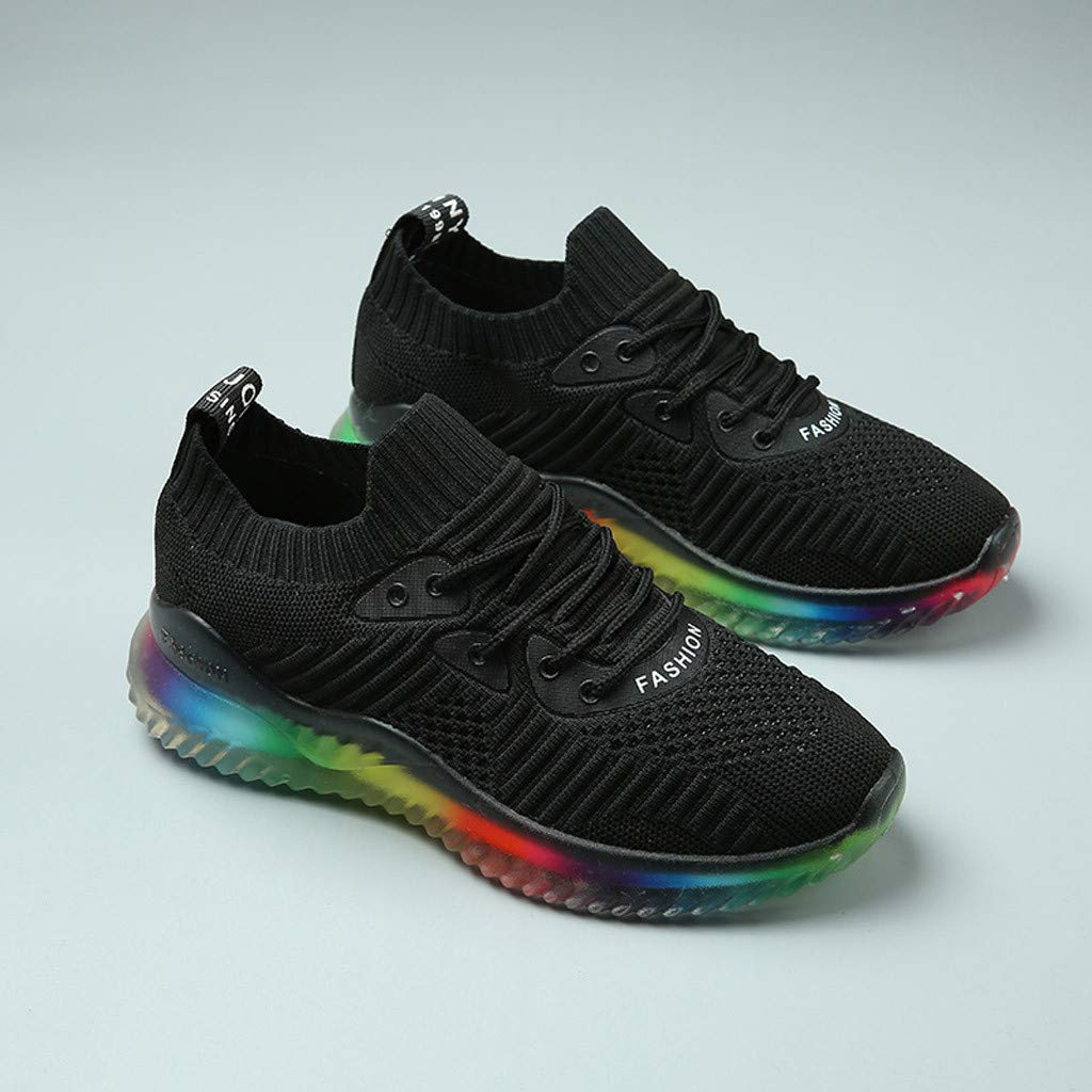 Women's Breathable Casual Sneakers Trend Woven Rainbow Jelly Soles Outdoor Sport Running Slip-on Shoes by Dacawin_Women Sport Shoes (Image #8)