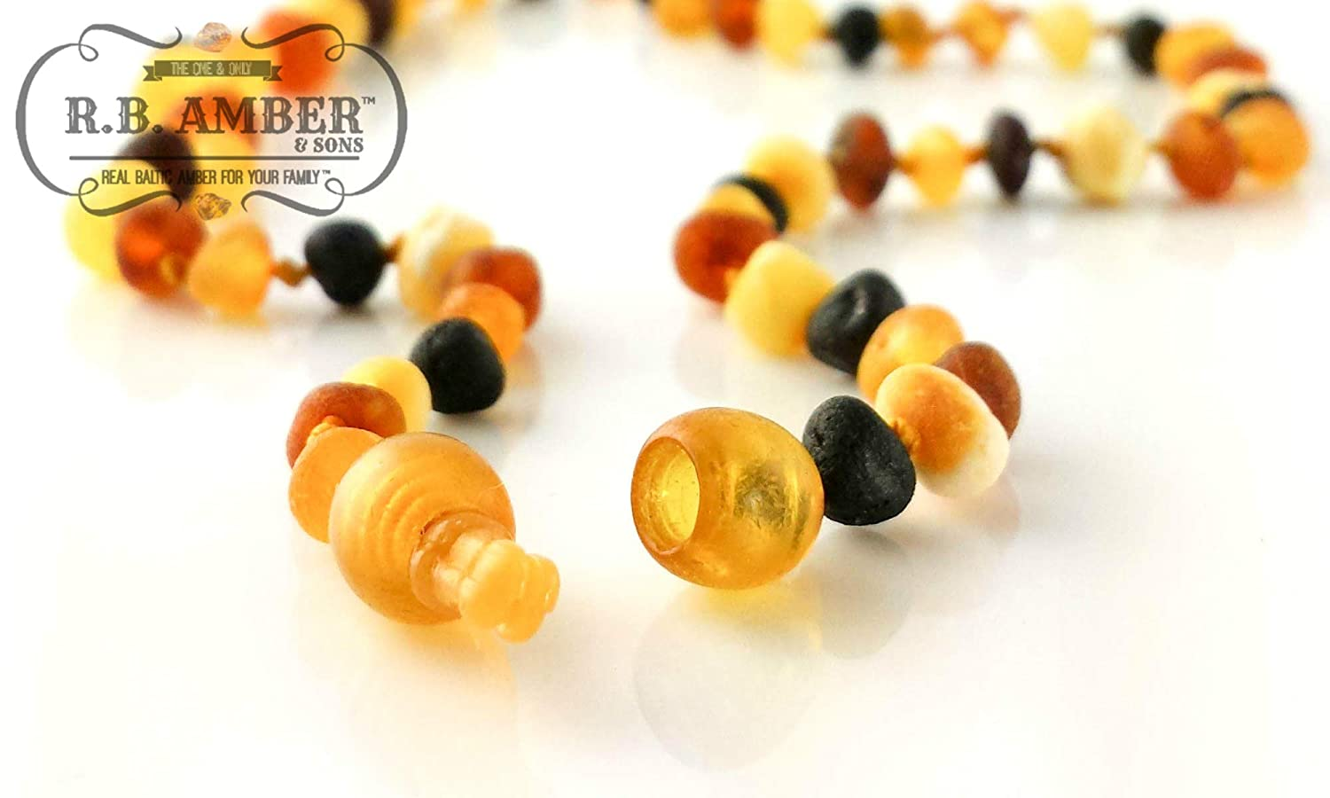 14-15 inches, Unpolished Rainbow POP CLASP Premium Grade Amber Teething Necklace Hand Crafted Baltic Amber Teething Necklace in 3 Sizes Teething Relief for Baby and Child