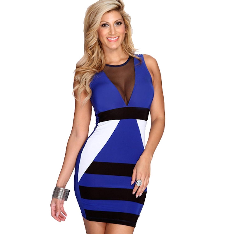 Kurzes Damen Cocktailkleid Partykleid Minikleid - knielang, blau ...