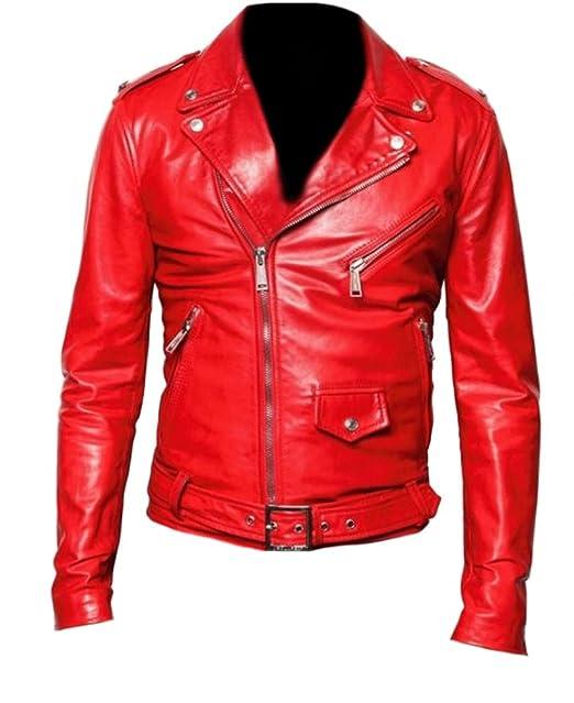 classyak moda Hombre de piel estilo Brando moto chaqueta de alta calidad Rojo Cow Red X