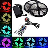 BMOUO LED Strip Lights Kit - 32.8ft / 10M Flexible Waterproof 5050 RGB LED Light With 44key LED Controller and DC 12V5A Power Adapter Built-in IC and Fuse