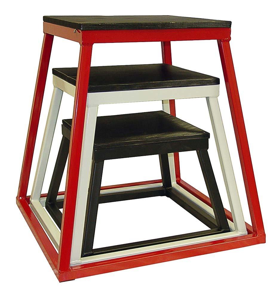 Ader Plyometric Platform Box Set- 12'' Black, 18'' White, 24'' Red.