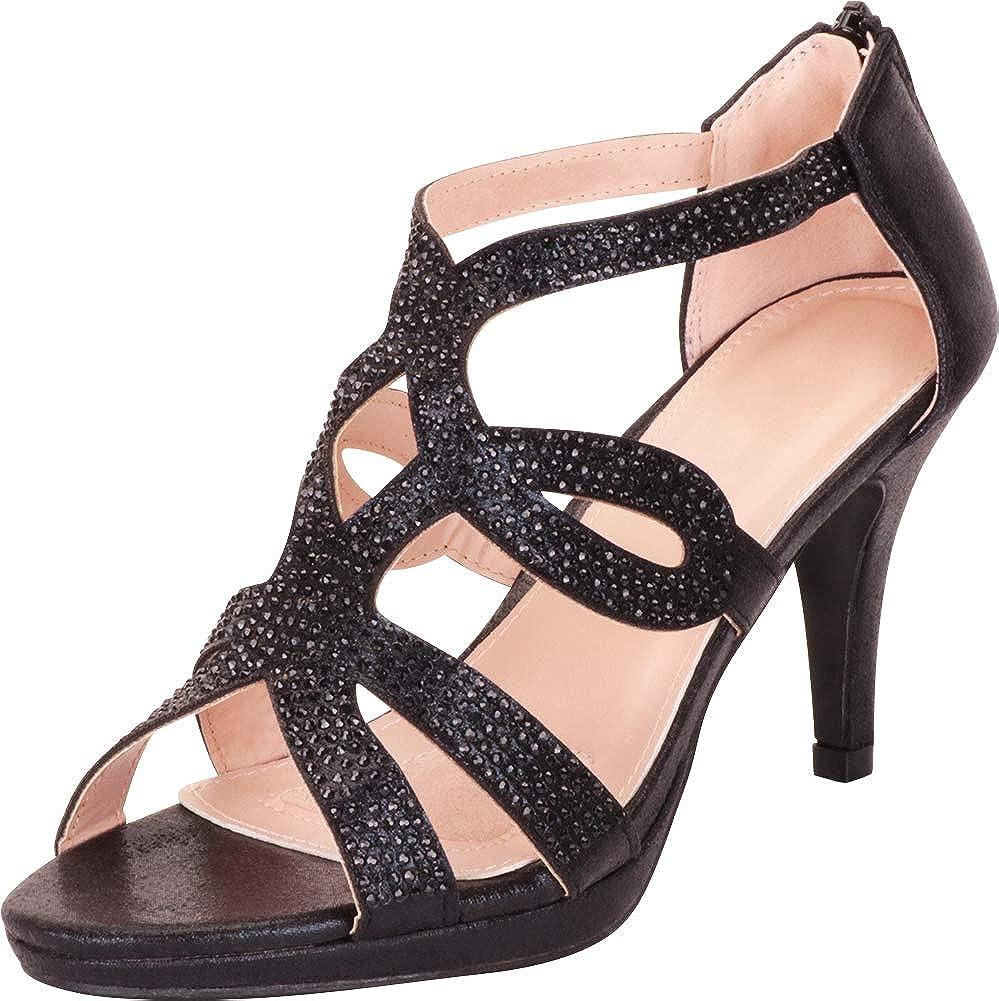 Black Glitter Cambridge Select Women's Cutout Crystal Rhinestone Platform Mid Heel Dress Sandal