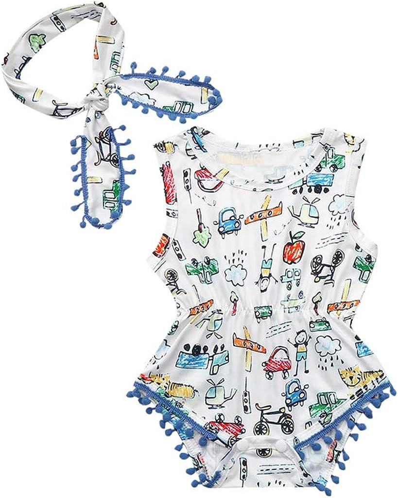 PinkLu Bebe Jumpsuit Dinosa de Dibujos Animados Borla Monos para Recien Nacido Niña Niño 3-24 Meses Peleles Ropa Verano+Linda Banda de Pelo: Amazon.es: Ropa y accesorios