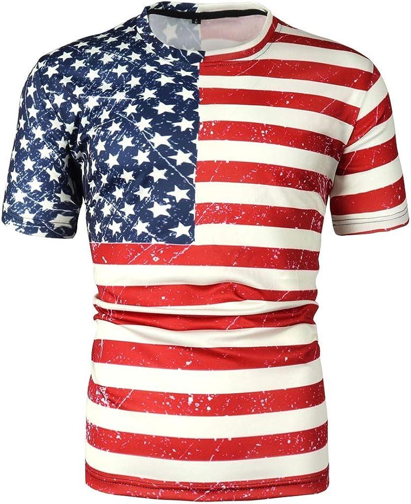 3D Estampado de Bandera Star Stripe para Hombre para Dia de la Independencia de Americana de impresión Camisa de Manga Corta Roja Impresa del Día de La Independencia del Verano (M, Rojo):