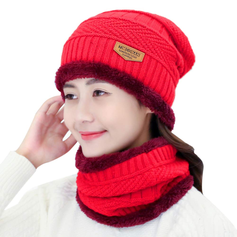 Petit Tourbillon Beanie Hat Scarf Set Thick Knit Warm Fleece Lined Hat & Scarf