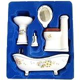 Dollhouse Bathroom Set 1/12 Scale Toilet Ceramic Miniature Furniture Accessories