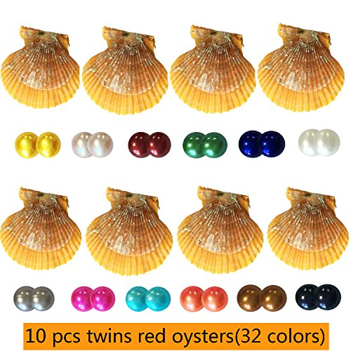 Akoya Pearls Wholesale - HENGSHENG 10 Pieces Red Oysters with Twins Nearly Round Pearls Inside Saltwater Akoya Pearl Oysters for Oyster Party(7-8 mm)