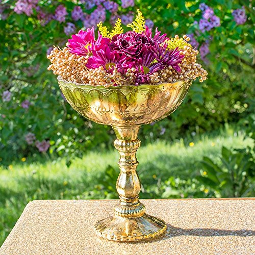 Accent Decor Gold Mercury Glass Compote, Scalloped Edge, Relief Pattern, 9.5 inch, Antique Inspired, Bowl, Pedestal, Centerpiece, (Gold) (Edge Compote)