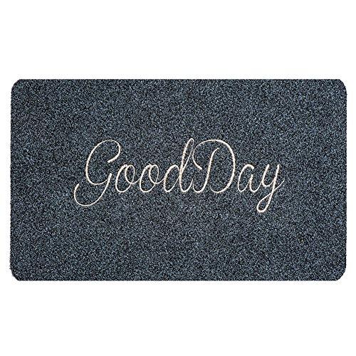 BIGA Welcome Mat Embroidered Entry Way Indoor and Outdoor Mat Monogram Script GOODDAY Doormat, 18X30 Inch, Grey (Outdoor Monogram)