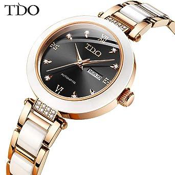 Amazon.com: TDO Reloj automático oro rosa caja de acero ...