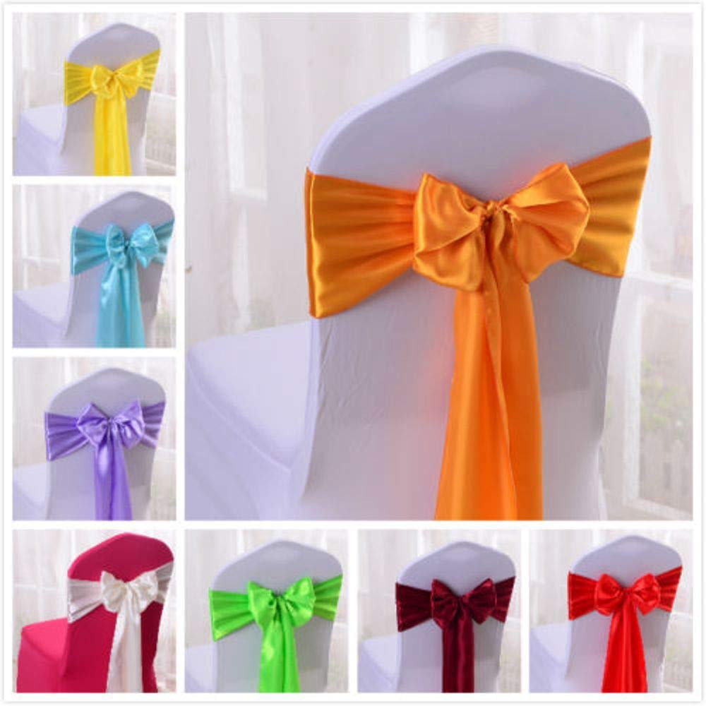 Set Of 10 Chair Decorative Satin Sashes Bow Designed For Wedding Events Banquet Home Kitchen Decoration (Pink)