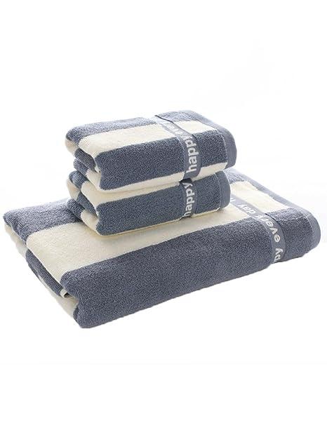 Toalla de baño suave---- Algodón simple Toalla rayada clásica Toalla absorbente grande