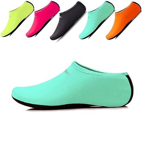 JIASUQI Niños, Mujeres y Hombres Clásicos Descalzos Deportes Acuáticos Zapatos de Piel Calcetines Aqua para la Playa de Natación Surf Yoga Ejercicio: ...