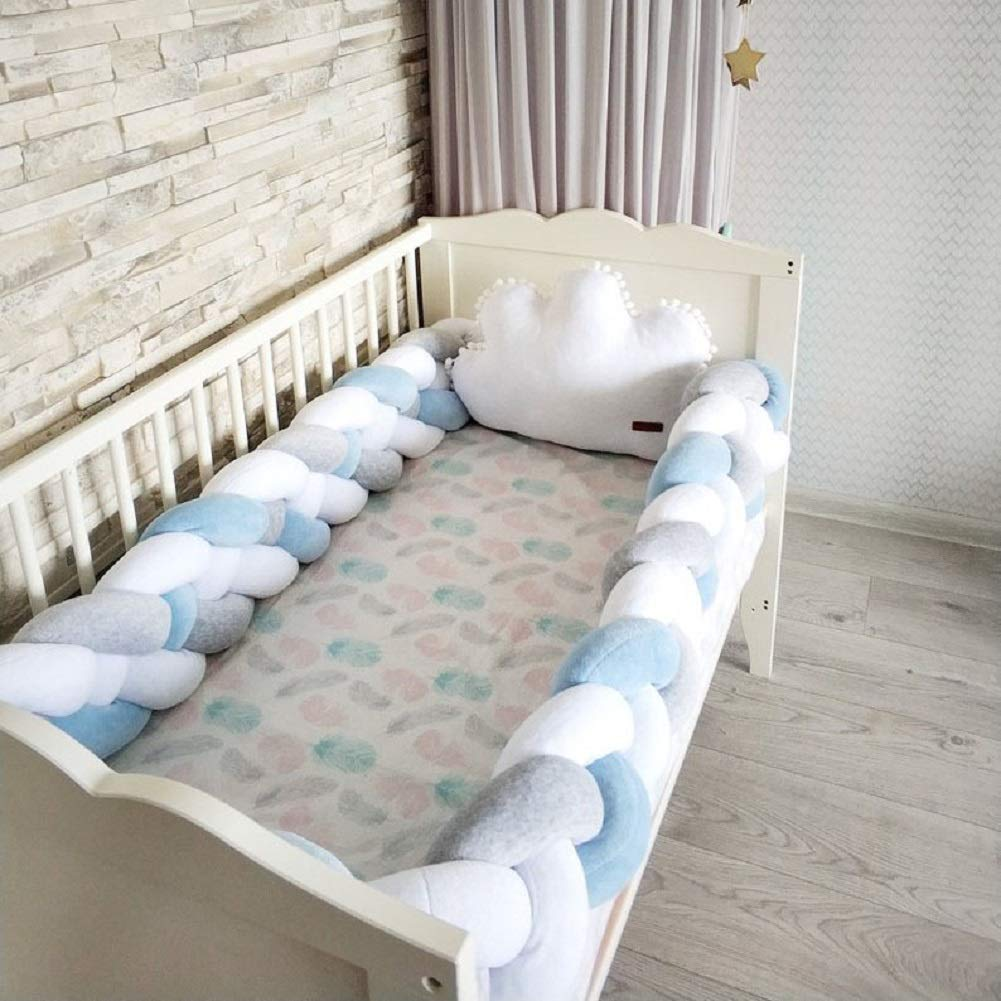 Baby Crib Bumper Plush Knotted Braided Bumper Handmade Soft Knot Pillow Sleep Safety Nursery Cradle Decor Newborn Gift Crib Protector (4 Strands) Gray+White+Blue 156 inch by DIRUNEN