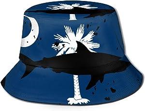 JO-CAP&1 Vintage Shark South Carolina Flag Men/Women Fisherman Hats Boonie Hat Outdoor Hunting Hat for Safari Camping