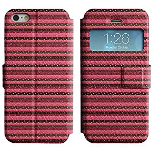 Be-Star Colorful Printed Design Slim PU Leather View Window Stand Flip Cover Case For Apple iPhone 5 / 5S ( Pink Horizontal Strip ) Kimberly Kurzendoerfer