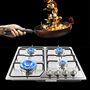 Gas Cooktop NG/LPG Gas Stove Cooktop Stove Burner Tempered Glass Cook Top Built in 4 Burners Gas Hob Grate Stovetop Cooker (4 Burners, 23'' x 20.5'')
