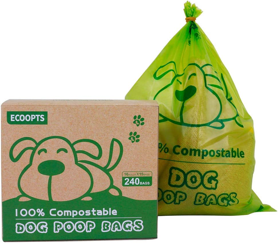 ECOOPTS 100% Compostable Dog Poop Bags Large Leak Proof Biodegradable Disposable Waste Bag, Extra Thick 0.71 Mils, ASTM D6400 and Certified Earth Friendly - 9 x 13 Inches, 240 Bags
