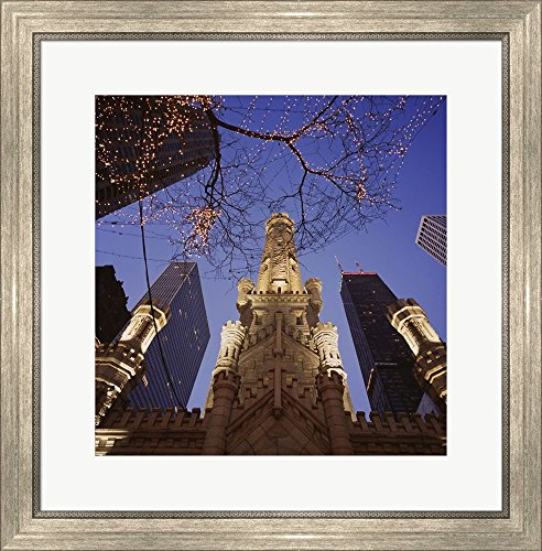 Winter Water Tower, Chicago, IL by Panoramic Images Framed Art Print Wall Picture, Silver Scoop Frame, 24 x 24 - Chicago Water Tower Il