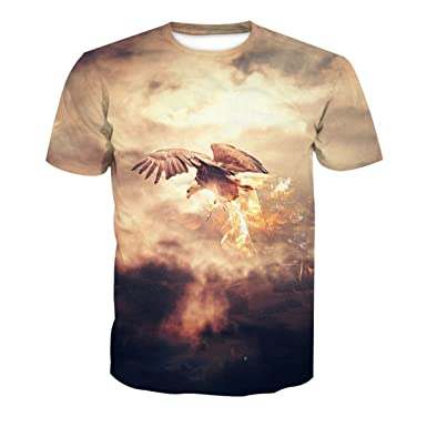 fad473a27d0 Men and Women Lovers Hip-hop Loose Large Size Street Style Blouse Soaring  Golden Eagle Pattern Short Sleeve T-Shirt  Amazon.co.uk  Clothing