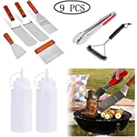 9Pc Griddle Accessories,Professional Kit for BBQ Grill - Heavy Duty Stainless Steel Griddle Tool Set for Men Women - Great for Grill Griddle,Camping and Tailgating