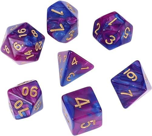 Juego de 7 dados de Stobok, de polihedral, para juegos de mesa Dungeon DND RPG MTG (lila y azul): Amazon.es: Hogar