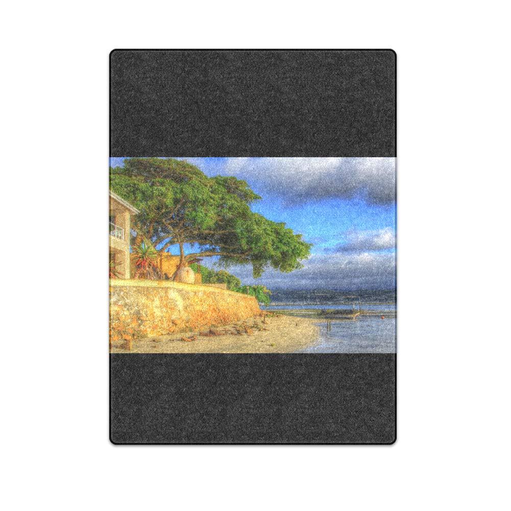 Romantic Simple COLORSFORU A Pleasant Hotel by The sea Custom Fleece Blanket 58x 80 Inch Large