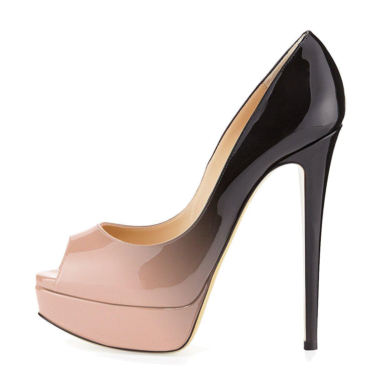 uBeauty Zapatillas Plataforma Mujer Zapatos de Tacon Tallas Grandes Sandalias Sin Cordones 39.5 EU Beige-coloreado