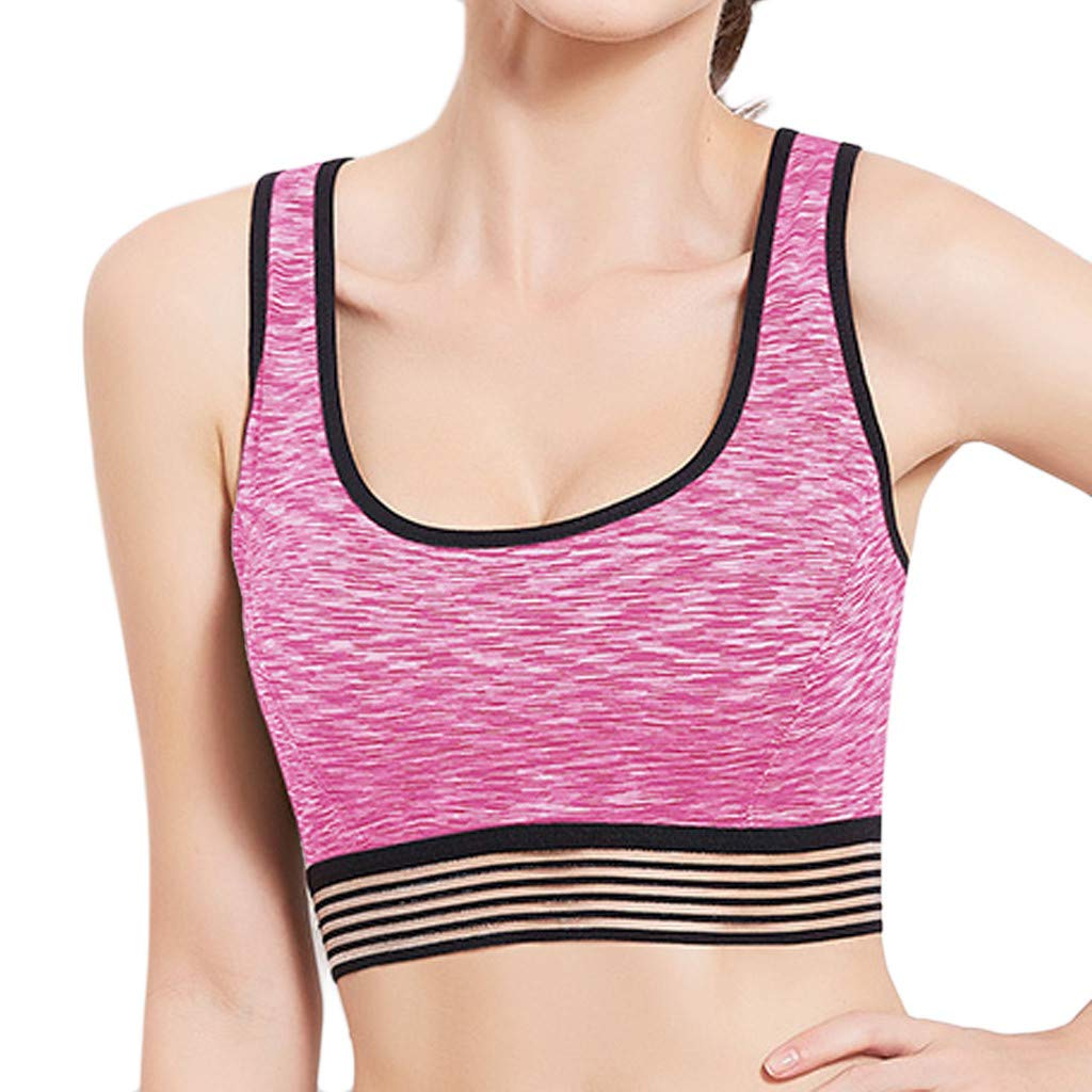 FEDULK Women's Fitness Bra Elastic Gym Sport Yoga Vest Tops High Impact Workout Activewear Stretch Blouse(Pink, Medium)