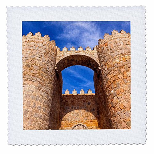 3dRose Danita Delimont - Architecture - Looking up at the Gate Alcazar, Avila, Castile, Spain - 20x20 inch quilt square (qs_257898_8) by 3dRose