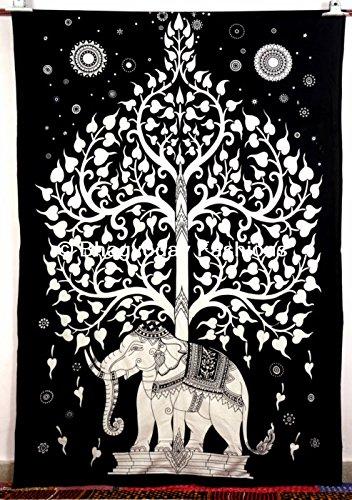 Bhagyoday - Arazzo indiano da parete, stile psichedelico/hippie/gipsy/bohemien, in cotone, decorazione per camera da letto, copriletto matrimoniale, 137 x 219 cm, soggetto: albero della vita ed elefante, colore: Bianco/Nero Bhagyoday Fashions