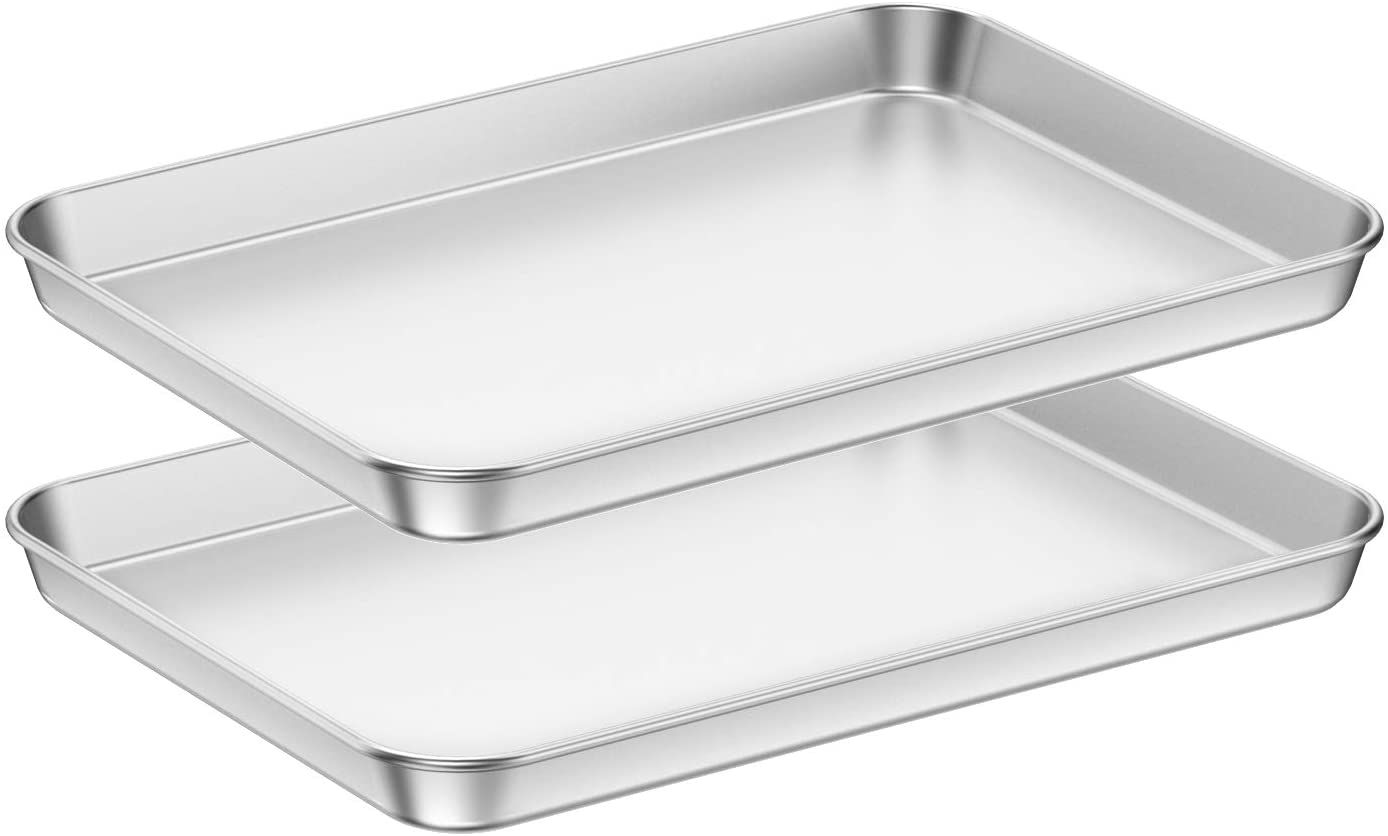 Baking Sheets 2 Pieces, Bastwe Cookie Sheets Set of 2 Stainless Steel Baking Pans Toaster Oven Tray Pans, Rectangle Size 12 × 10 × 1 inch, Rustproof & Healthy & Easy Clean & Dishwasher Safe