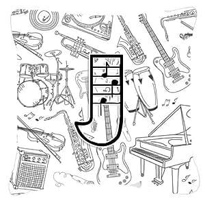 Letra J Nota Musical letras tela de lona almohada decorativa–CJ2007-JPW1818