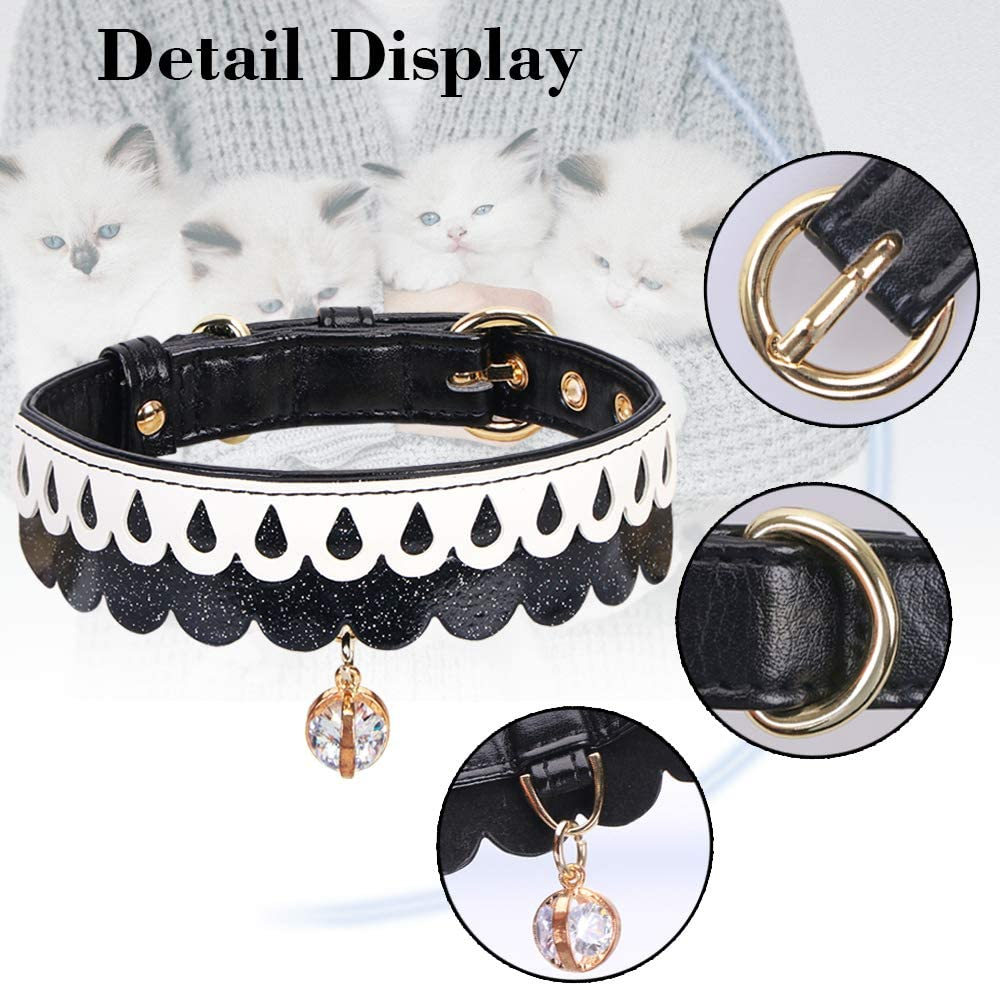 Bling Beautiful PetsHome Dog Collar Adjustable Collars for Small Dog and Cat Medium Purple Cat Collar,