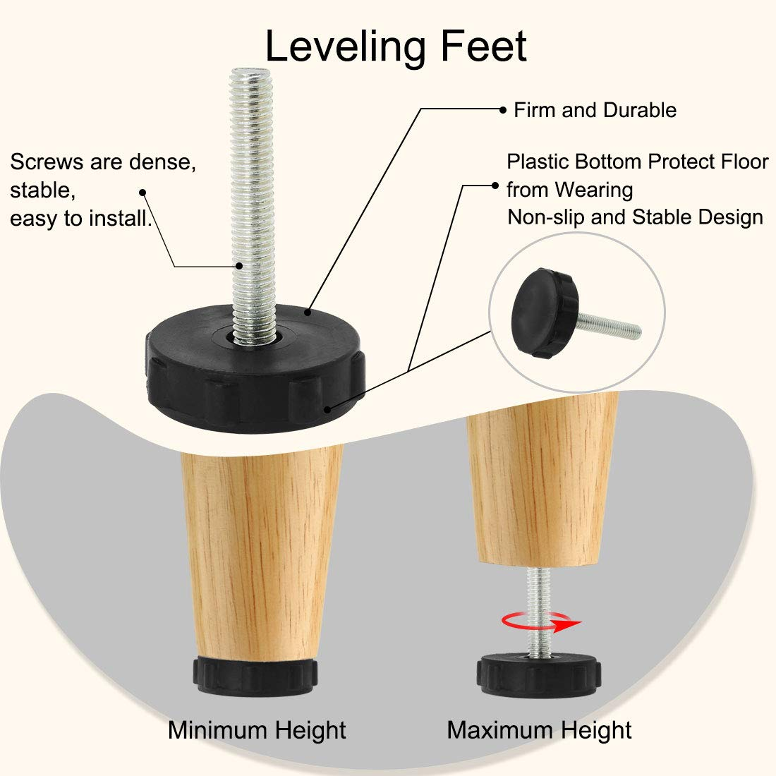uxcell M8 x 50 x 40mm Furniture Glide Leveling Feet Adjustable Leveler Floor Protector for Furniture Table Leg 16 Pack a18071800ux0006