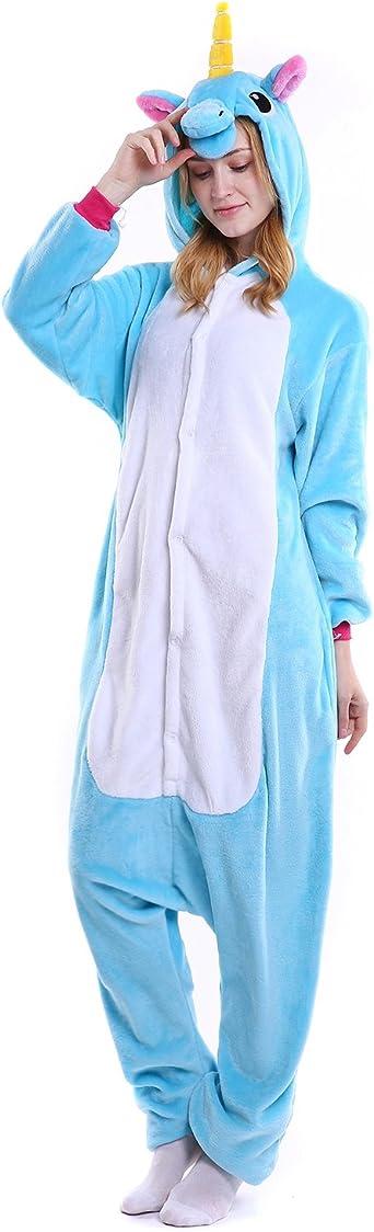 Semia Unisex Unicornio Pijama Mujer Hombre Traje Disfraz Animal Adulto Cosplay Festival de Carnaval Halloween Navidad Pijamas de Una Pieza Ropa de ...